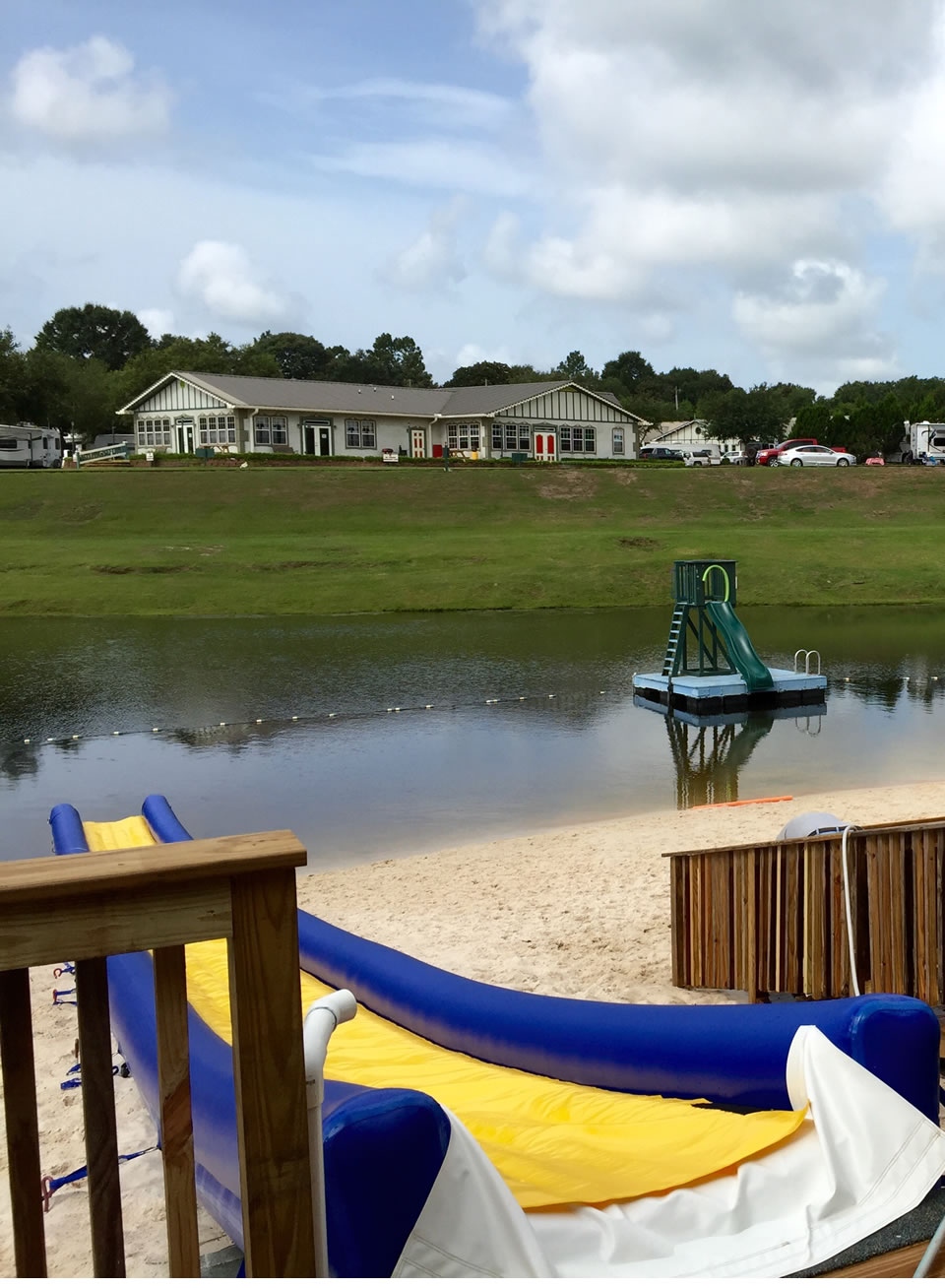 A view of our Community Building from atop the water slide.