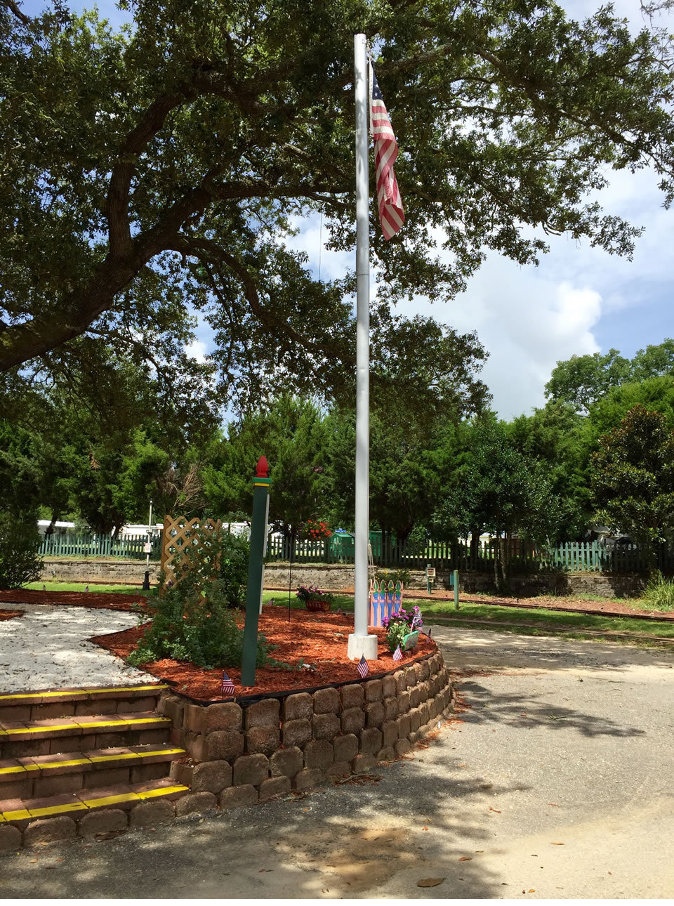 It's a popular landmark: The flagpole near The Main Entrance
